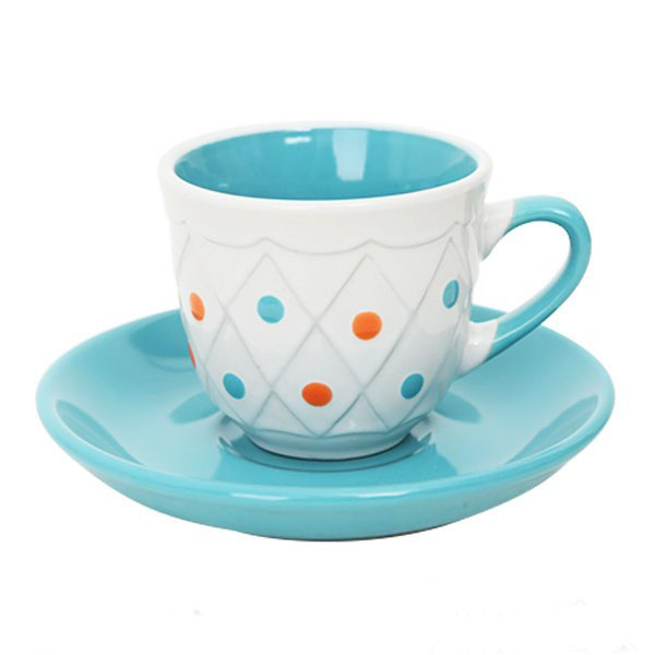 80cc coffee cup&saucer with small colorful spot