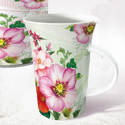 Flute coffee mug-flower series