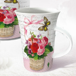 Flute coffee mug-flower basket