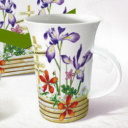 Flute coffee mug-purple flower