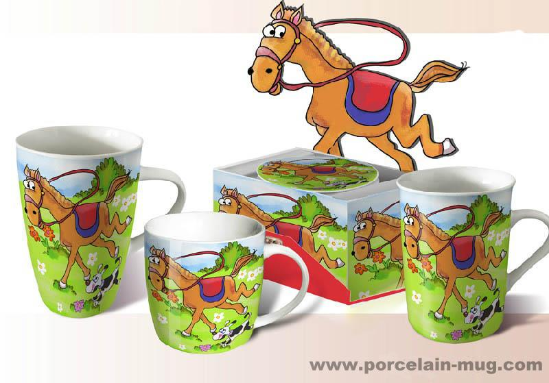 Child white porcelain Mug-horse
