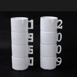 Numbers stackable mugs