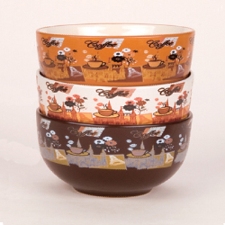 Bowl with coffee printing decoration