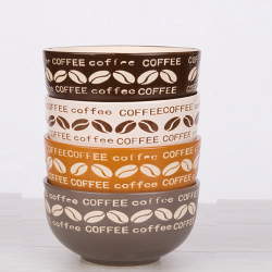 Bowl with coffee beans handprinted