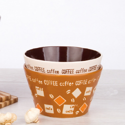 V bowl with coffee handprinted