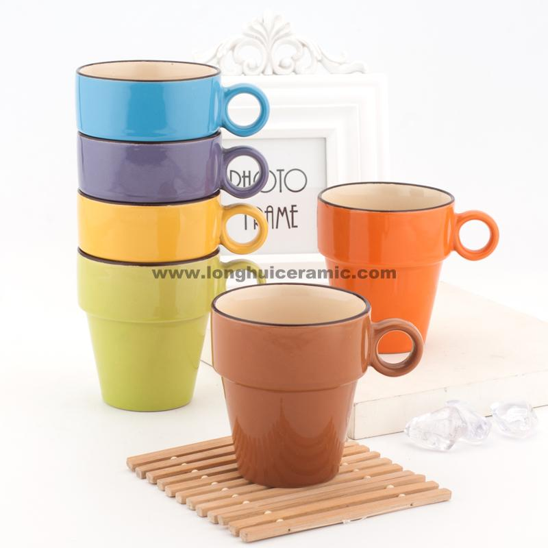 8oz Stackable Ceramic Coffee Mug Supplied By China Manufacturer