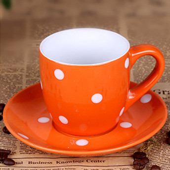 230cc color glaze and whtie spot coffee cup&saucer