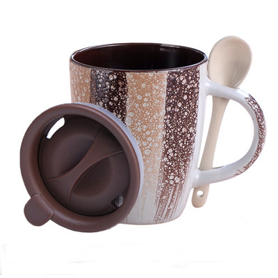 340cc glaze brushed coffee mug with spoon