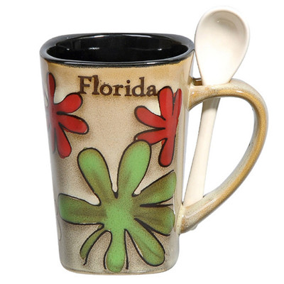 340cc hand painted Florida&flower coffee mug  with spoon