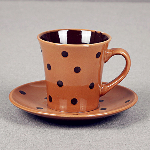 Colorful glazed coffee cup&saucer with dots painted