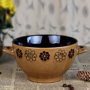 5.7'' handpainted bowl with two handles