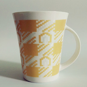 350cc yellow mosaic pattern ceramic coffee mug