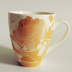 300cc full golden flower printed ceramic coffee mug