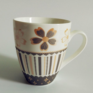 300cc full gray golden flower printed ceramic coffee mug series