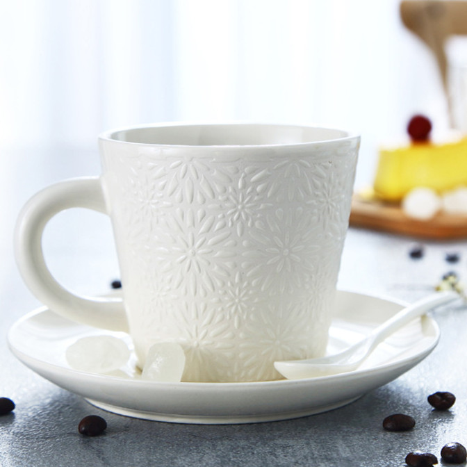 410cc high-grade embossed white ceramic coffee cup&saucer