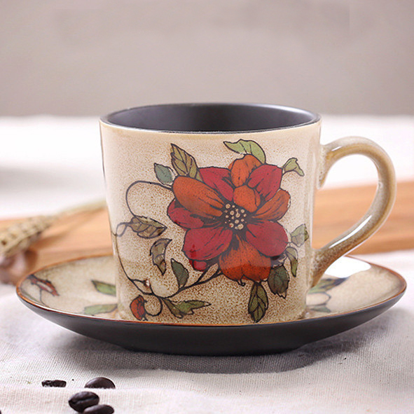 200cc flower branch handprinted coffee cup&saucer