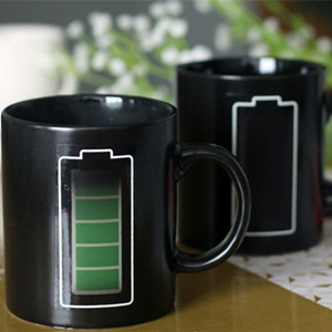 Battery design magical color changing ceramic coffee mug