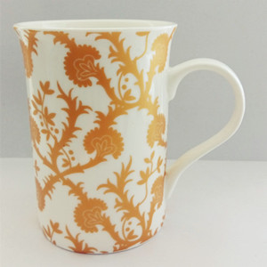 Gold flower straight ceramic mug with gift box