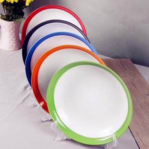 Hotel restaurant porcelain round plate with color glazed rim