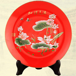 High-grade Chinese flower lotus painting red ceramic decoration plate