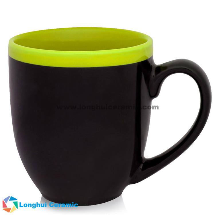 Two-tone halo customizable bistro ceramic mug made by China factory ...