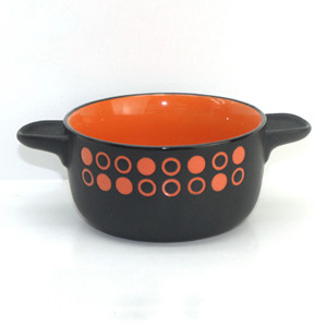 Two-tone color circle design ceramic soup bowl with two ears