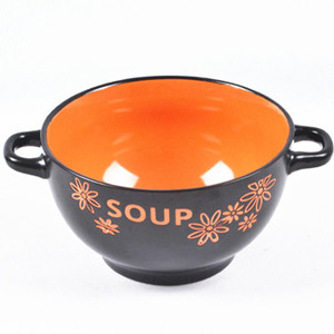 5.5'' Two-tone two-ear colorful simple pattern ceramic soup bowl