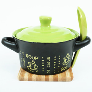 5'' Two-tone two-ear simple pattern ceramic soup bowl with lid and spoon