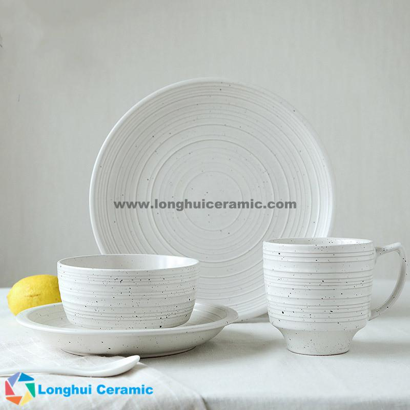 4pcs Simple custom ceramic dinnerware set ... & Creative simple and elegant ceramic dinnerware set made in China ...