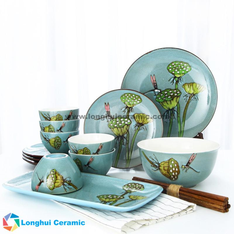 ... 18pcs Beautiful handpainted lotus pod and dragonfly ceramic dinnerware set ...  sc 1 st  Liling Longhui Ceramic : dragonfly dinnerware - pezcame.com