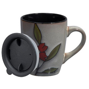 12oz hand painted flower&leaves ceramic coffee mug with lid