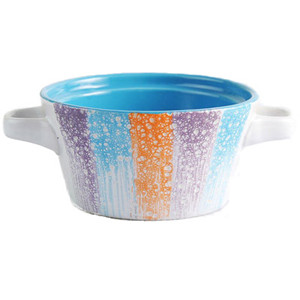 4.8'' Colorful glaze embossed two ears ceramic bowl