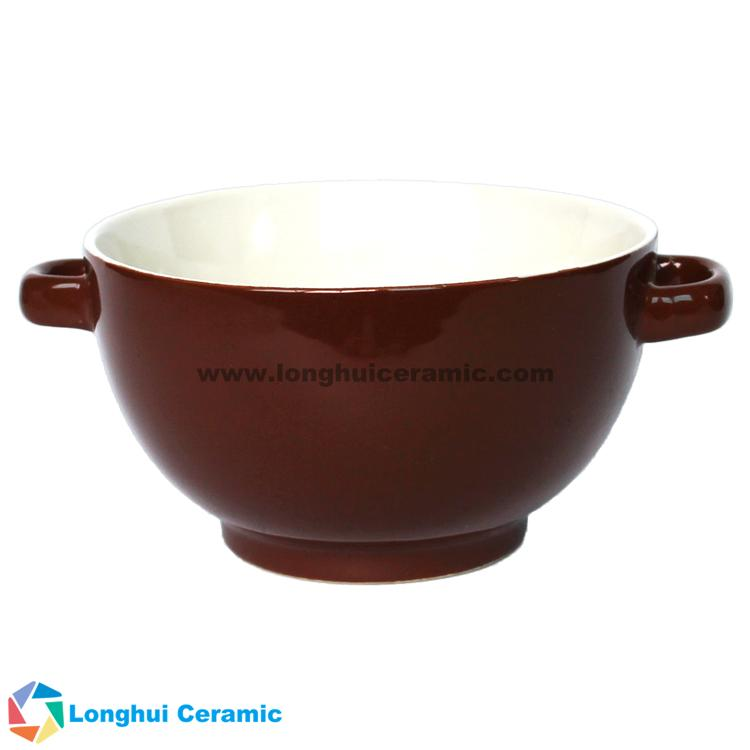 5inch two-tone ceramic soup bowl with two ears