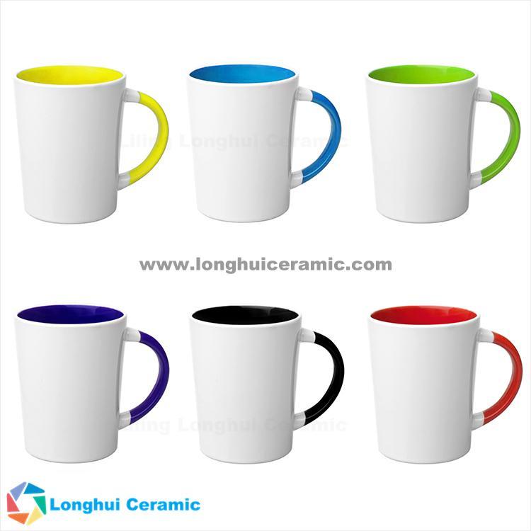 15oz Two Tone Cone Shaped Latte Custom Coffee Mug Ceramic