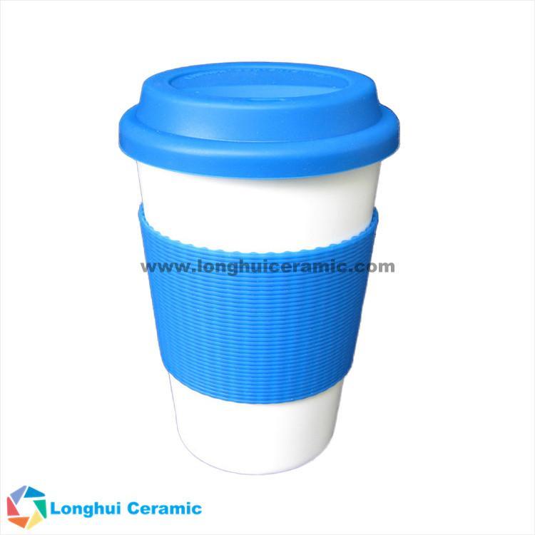 4ad3c518544 ... 380ml ceramic custom coffee mug with silicone lid and silicone band grip  ...