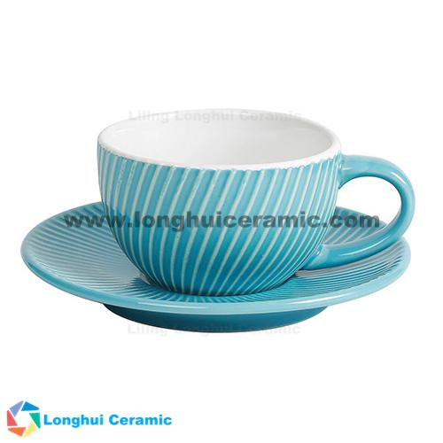 9oz stripe embossed ceramic coffee cup and saucer