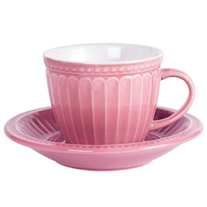 275cc flower petal embossed ceramic cup and saucer