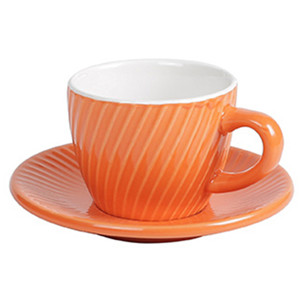 125ml oblique stripe embossed ceramic coffee cup and saucer set
