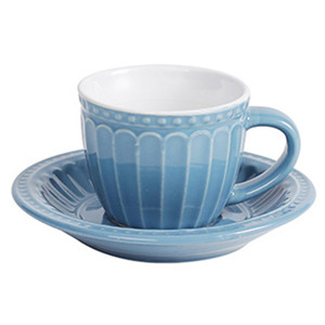 4oz embossed personalized colored  ceramic tea cup and saucer