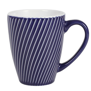 13ounce oblique line stripe design colourful ceramic embossed mug