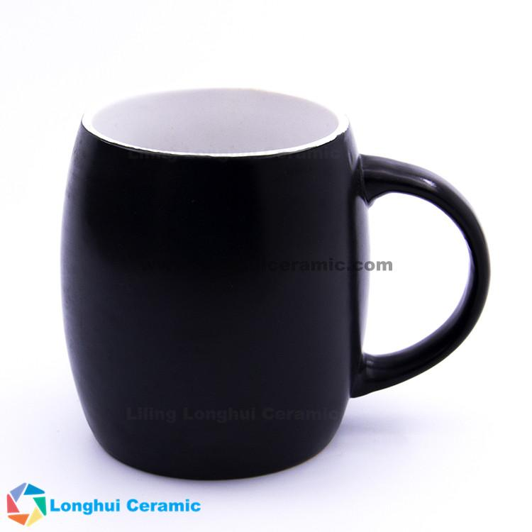 18oz extra large customizable printing stoneware ceramic barrel coffee mug