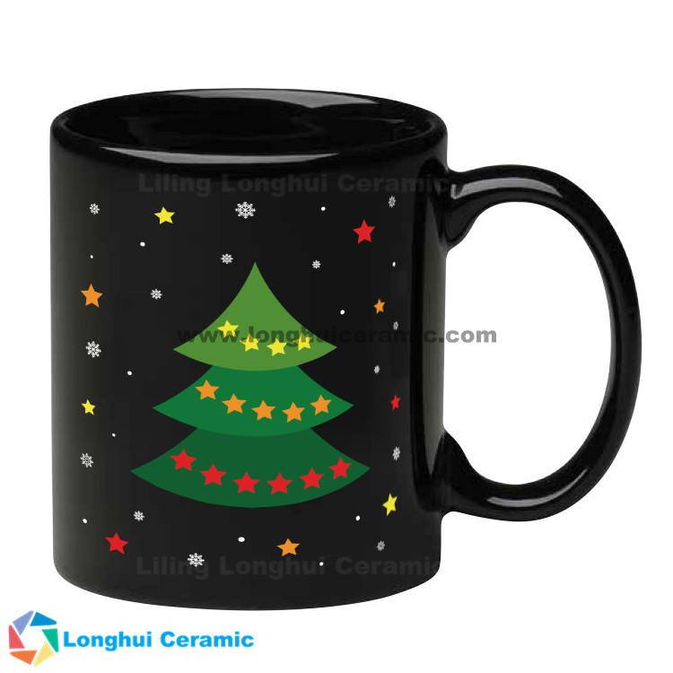 11oz customizable black ceramic coffee mugs christmas