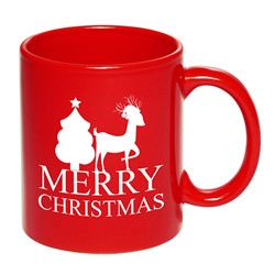 11oz happy new year custom red ceramic mug for christmas