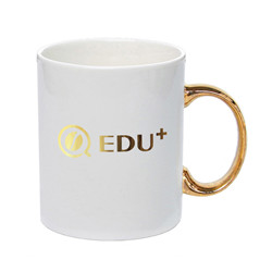 11oz own design ceramic mug with gold handle