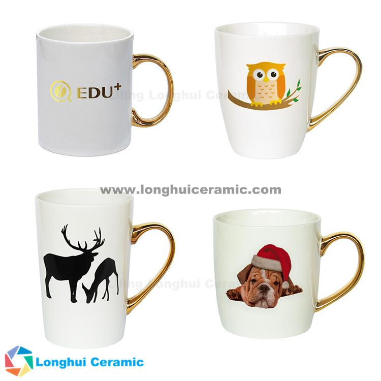 14oz customizable gift design ceramic mug luxury golden handle