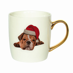 12oz fashionable custom christmas design gold handle ceramic cup
